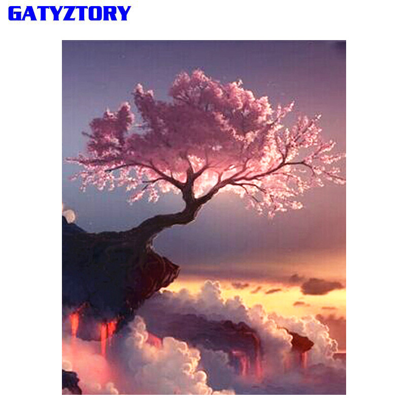 GATYZTORY Frame Abstract Trees DIY Painting By Numbers Landscape Handpainted Oil Painting Modern Wall Art Home Decor Unique Gift