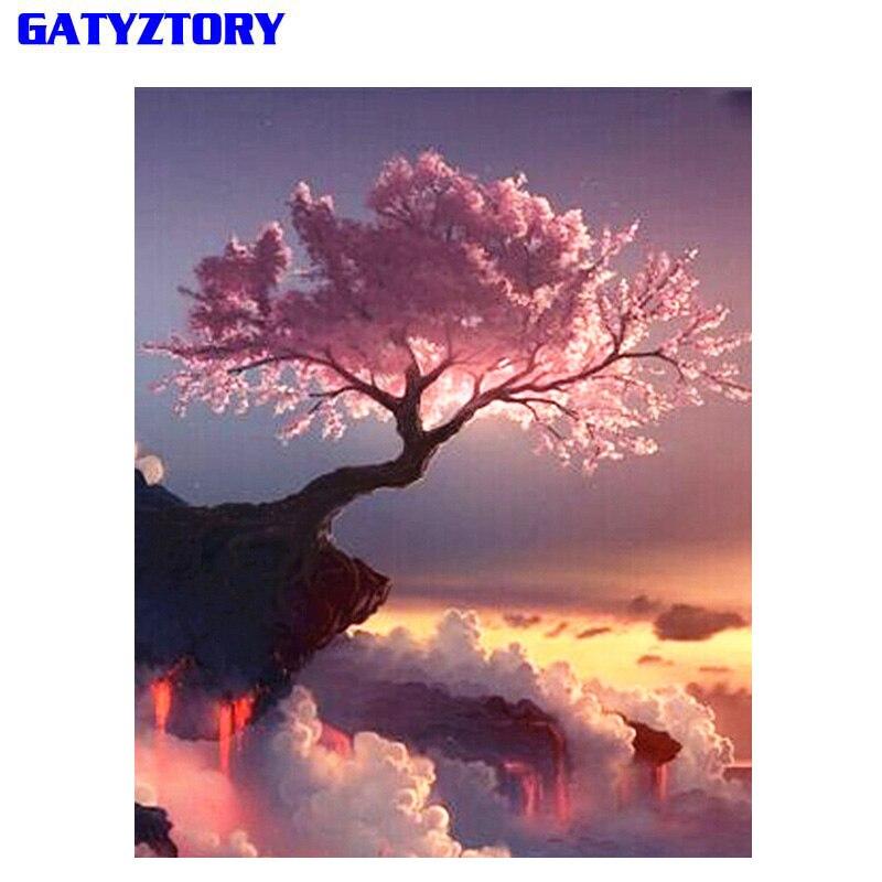 Gatyztorie marco abstracto árboles DIY pintura por números paisaje pintado a mano pintura al óleo moderno arte de la pared decoración del hogar regalo único
