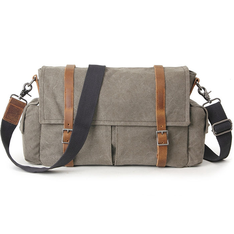 Army Green Vintage Women & Men Canvas Shoulder Bag With Crazy Horse Leather High Quality Casula Canvas Crossbody Bags G074 army green vintage women