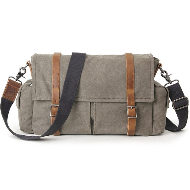 9a0272160c Army Green Vintage Women   Men Canvas Shoulder Bag With Crazy Horse Leather  High Quality Casula Canvas Crossbody Bags G074