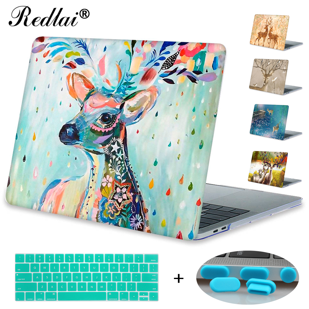 Redlai Milu Deer Print Hard Case Cover For MacBook Air Pro Retina 11 12 13 15 Laptop Case For Mac book Pro 13 15 with Touch Bar сувенир подвеска бабочка красавица