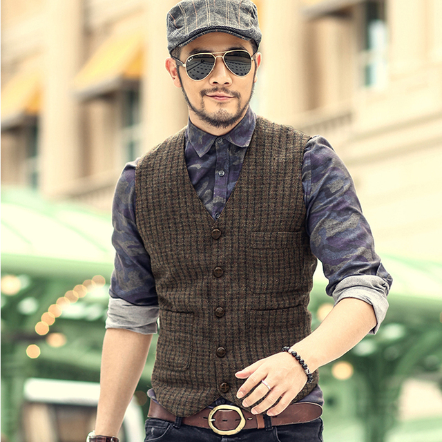 New England Vintage Mens woolen tweed casual suit vest Slim fit Vest Wedding Waistcoat