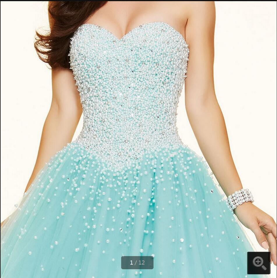 2016 New Design Ball Gown Blue Pearls Princess Prom Dress Strapless Sweetheart Neck Puffy Prom Dresses Best Selling