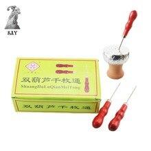 SY 30pcs/box Shisha Wooden Handle Foil Piercing Tool Single Needle Puncher Aluminum Hookah Accessories