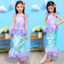 Girls Summer Outfits Mermaid Dress Halloween Princess Ariel Cosplay Costume Little Mermaid Kids Clothes Fancy Children Clothing(China)