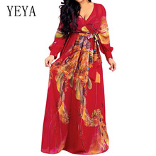 YEYA Bohemian Style Plus Size XXL Elegant V Collar Flower Print Long Sleeve High Quality Chiffon Maxi Dress Women Autumn