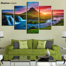 Wall Art Canvas Prints Pictures 5 Pieces Beautiful Iceland Waterfall Paintings Green Mountain River Landscape Posters Home Decor
