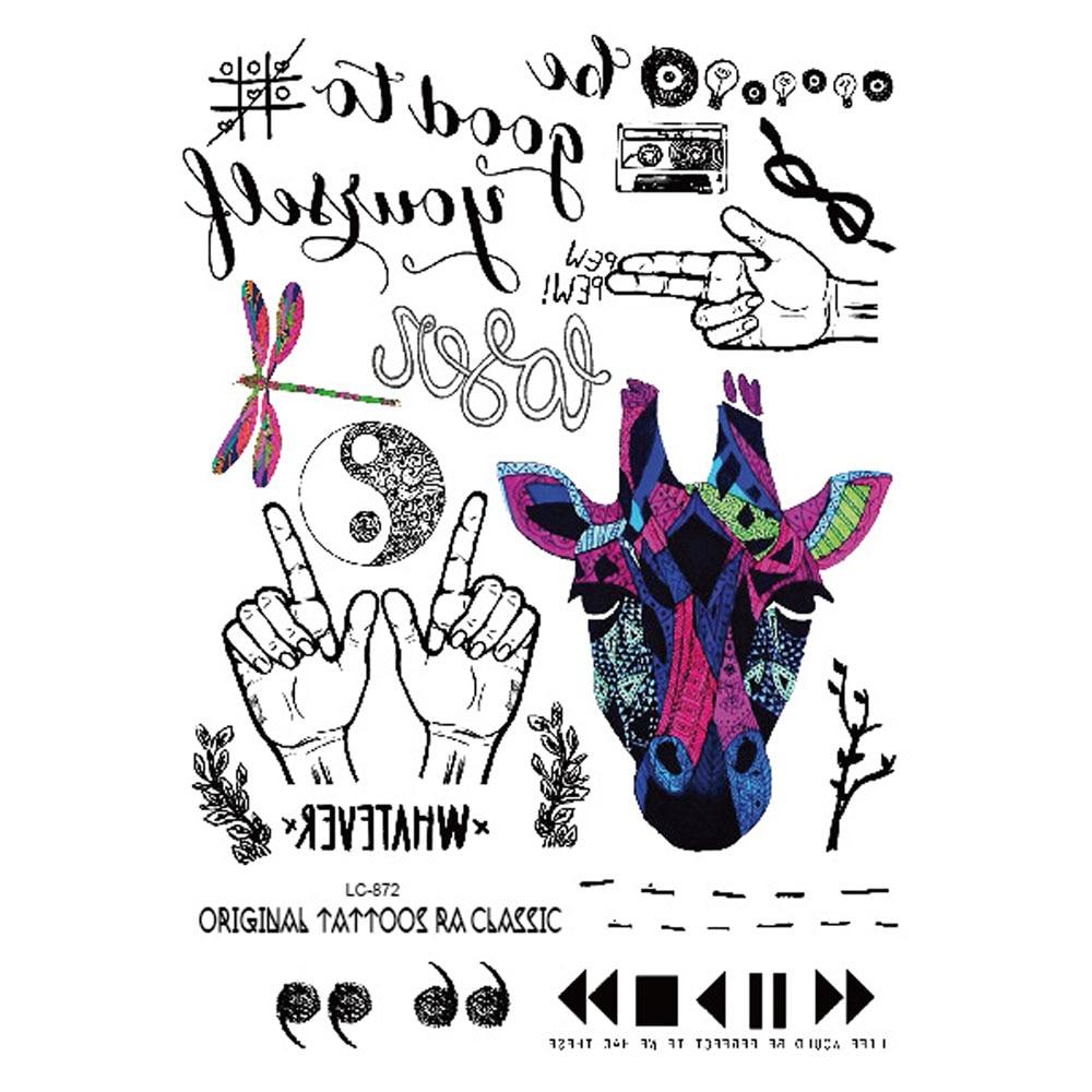 Yeeech Temporary Tattoos Sticker for Men Women School DIY Harajuku Small Variety CD Donkey Whatever Design Fake Arm Leg Body Art