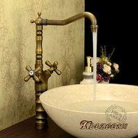Furukawa Classical Retro Green Bronze European Antique Bathroom Vanities Counter Basin Faucet Antique Full Copper Hot