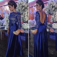 Royal Blue Arabic Evening Dresses Long Sleeve Backless Evening Dress Floor Length Lace Formal Party Dress For Special Occasion