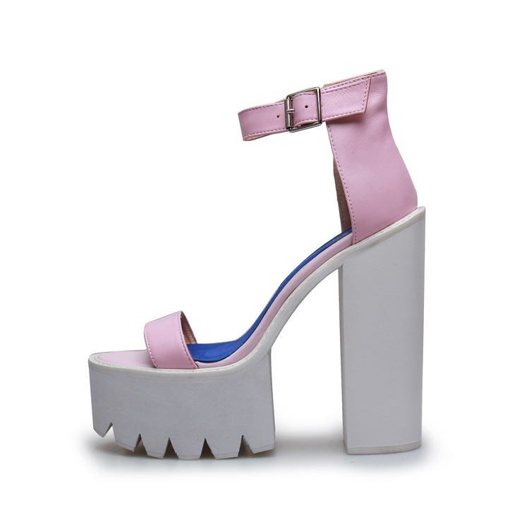 Women Chunky Heels Sandals Ankle Strap Buckle Thick Heels Sandals 2018 Hot Selling Summer Dress Shoes Cut-out Platform Pumps summer new pointed thick chunky high heels closed toe pumps with buckle ankle wraps sweet sandals women pink black gray 34 40