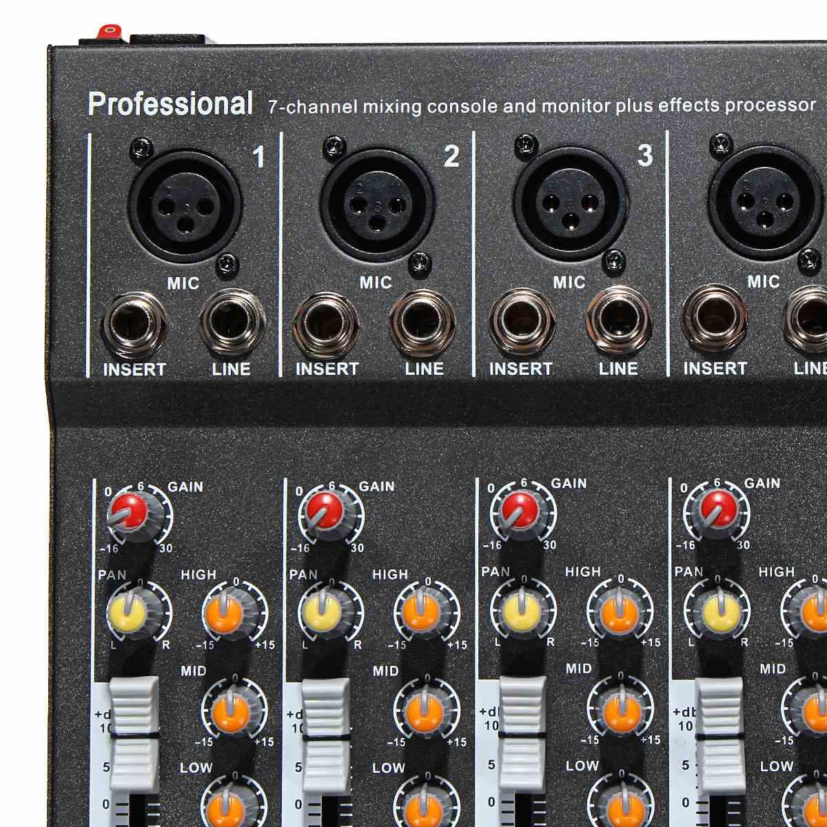 LEORY profesjonalny Karaoke mikser audio 7 kanał mikrofon cyfrowy konsola wzmacniająca dźwięk z USB zasilanie Phantom 48V