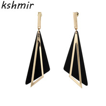 Fashion accessories exquisite hollow out black diagonal triangle long earrings wholesale
