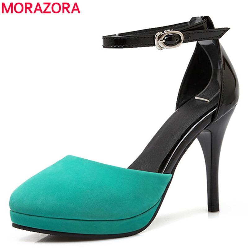 MORAZORA 12cm stiletto high heels women pumps round toe platform pu leather quality ladies dress shoes woman big size 34-43