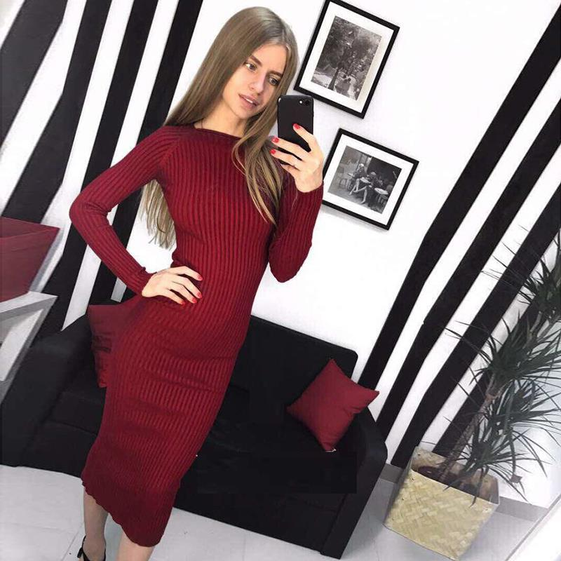 Autumn Winter Women Knitted Bodycon Dress Shinny Long Sleeve Sweater Dresses Vestidos WS4024V