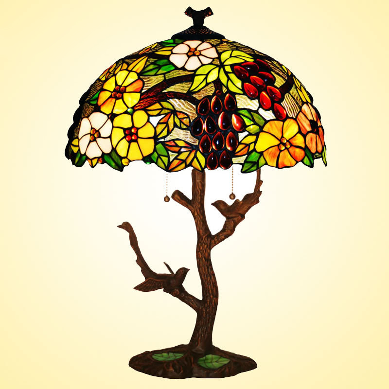 Tiffany Lamp Lighting 17 Inch European Creative Decoration Living Room Lights Bedroom Bedside Base Two Birds In Table Lamps From On