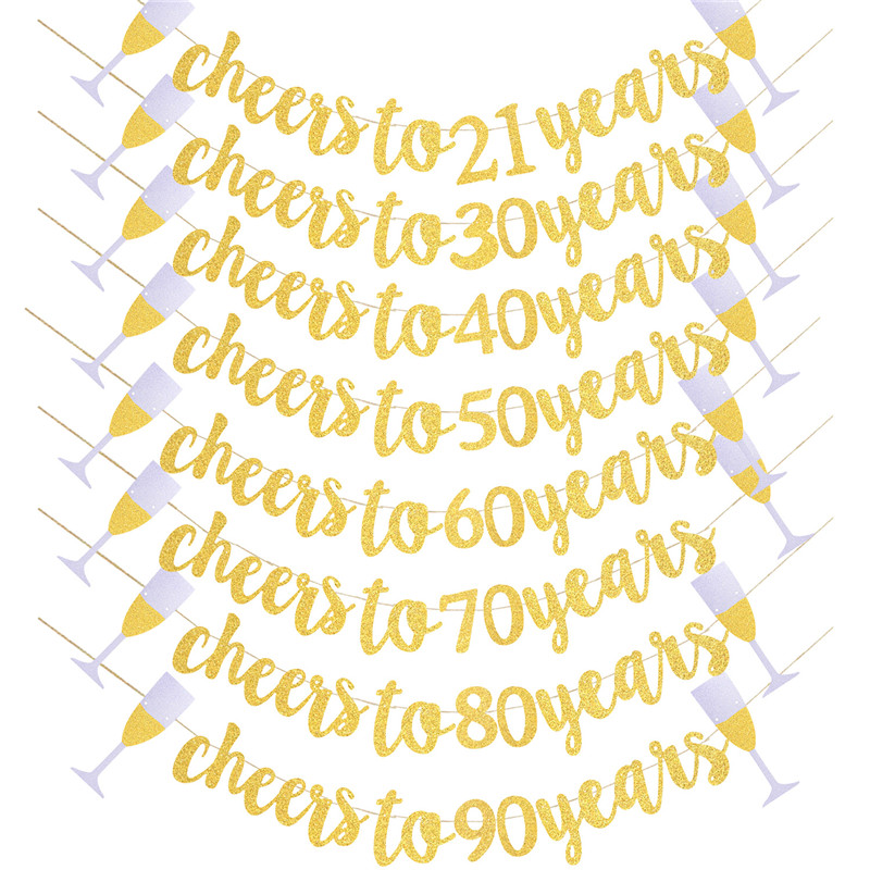 Gold Cheers To Years Banner Garland for 30th 40th <font><b>50th</b></font> 60th 70th 80th 90th <font><b>Birthday</b></font> <font><b>Party</b></font> Wedding Anniversary Decor Supplies image