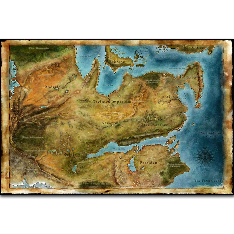 US $5.78  FX1245 Hot Thedas Map Dragon Age Classic Video Games Diagram  Poster Art Silk Light Canvas Home Room Wall Printing Decor-in Painting & ...