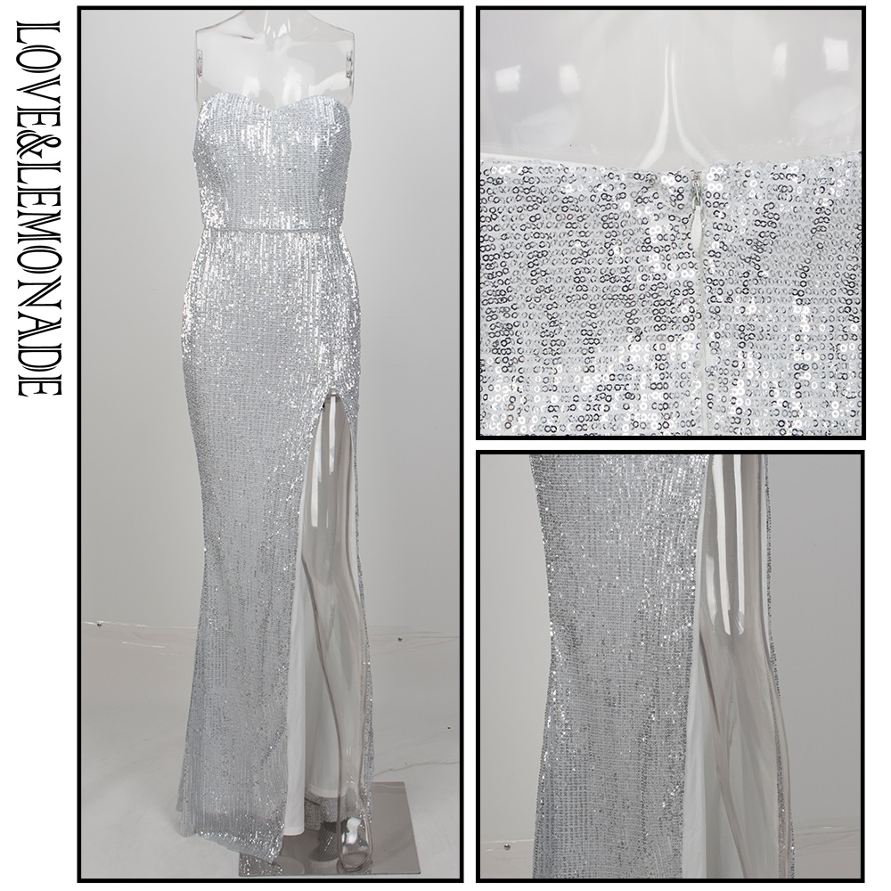 b5b097e8e10 Love Lemonade Silver Tube Top Cut Out Fish Tail Shaped Elastic Sequin  Material Long Dress LM1052-in Dresses from Women s Clothing on  Aliexpress.com ...