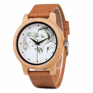 Image 4 - カスタムブランド自身の写真腕時計ユニークな竹木革因果石英男性はカスタマイズされたロゴ誕生日ギフト