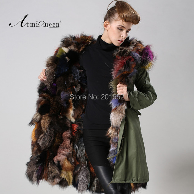 fbd207ec5e9b colorful fox fur with a statement trimmed hood Reversible Fox Fur Lined Parka  coat mrs vintage military parkas