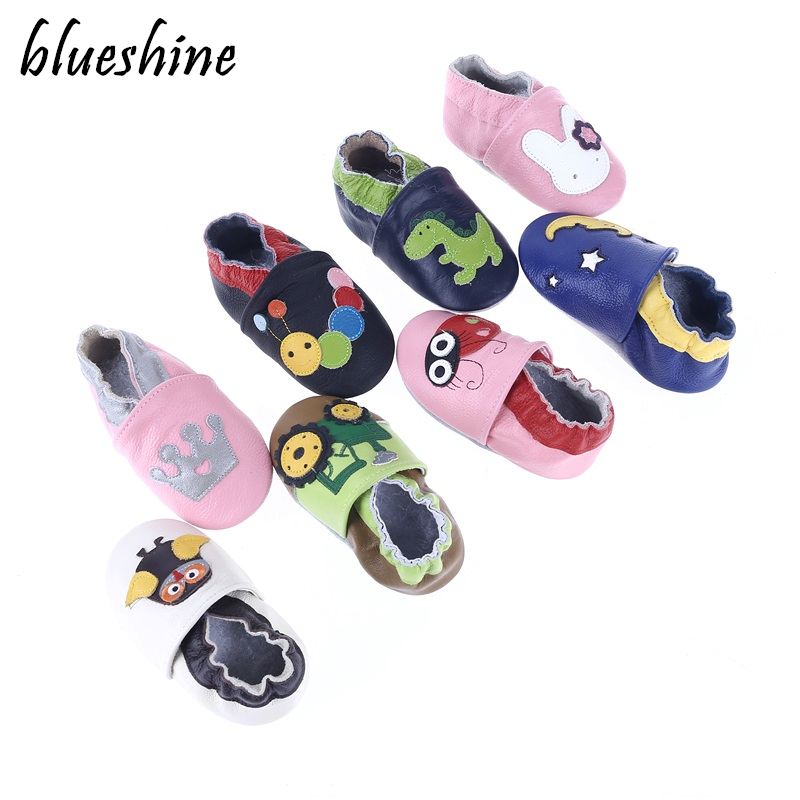 Genuine Leather Cartoon Baby Shoes Mixed Colors Toddler Baby Moccasins Soft Bottom First Walkers Bebe Shoes