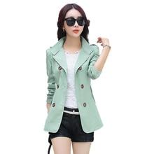 New 2019 Spring Autumn Windbreaker Women Short Coat Korean Fashion Double-breasted Slim Large size Jacket N730
