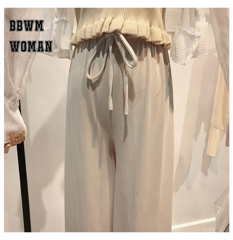 Korean Summer Ice Silk Knit High Waist Wide Leg Pants Ankle Length Straight Casual Fashion Trousers ZO437 42