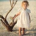 Niña Vestido de Encaje de Algodón Para Niños 2016 Nueva Llegada Del Verano Ropa de los niños Vestido de Princesa de Encaje Blanco Lindo Coreano Delgado Tamaño 100-140