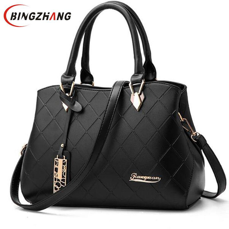 Fashion PU Leather Top-handle Women Handbag Solid Ladies Lether Shoulder Bag Casual Large Capacity Tote Crossbody Bags L8-45