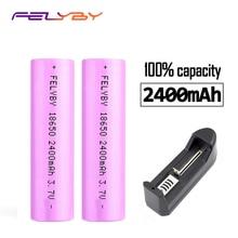FELYBY 2pcs/lot Original 3.7v 18650 Battery 2400mAh Li-ion Battery 18650 rechargeable Battery for Laser pen light flashlight