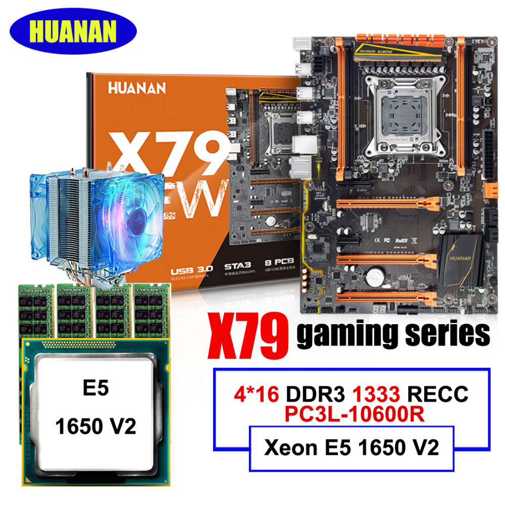 New arrival HUANAN deluxe X79 gaming motherboard CPU Xeon E5 1650 V2 with CPU cooler RAM 64G(4*16G) 1333MHz DDR3 RECC цена 2017