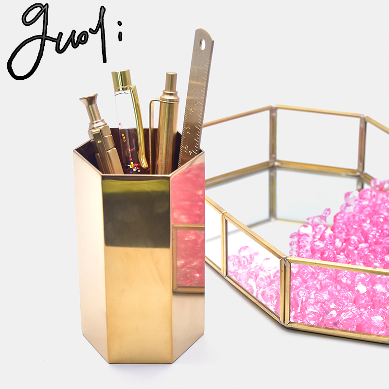 Guoyi S032 creative cylindrical brass glass office storage pen holder storage box and hotel room business jewelry gift boxStationery Holder   -