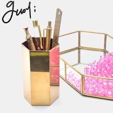 Guoyi S032 creativo cilindrico di vetro in ottone scatola di immagazzinaggio scatola di immagazzinaggio del supporto della penna per ufficio e camera dalbergo di affari contenitore di regalo dei monili