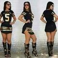 3 Colores S-XXL Sexy Club de Vestidos de 2016 Nuevas Mujeres Del Verano mini split bodycon dress quinto moda brillante impresión de la camiseta dress