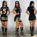 3 Cores S-XXL Sexy Clube Vestidos de 2016 Novas Mulheres de Verão split mini bodycon dress moda ª brilhante imprimir camiseta dress