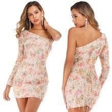 2019 Number Printing Tassels Paillette Sexy Reveal Anticline Shoulder Dress sexy back sloping shoulder dresses