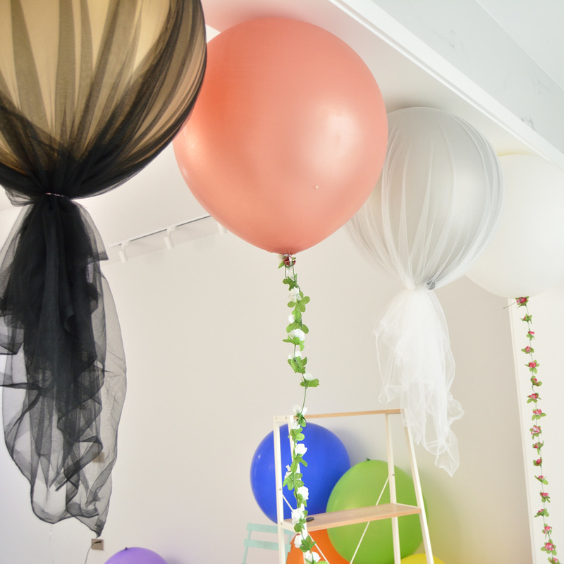 Yooap Mesh balloon wedding arrangement birthday party decoration net gauze Tanabata marriage proposal white props