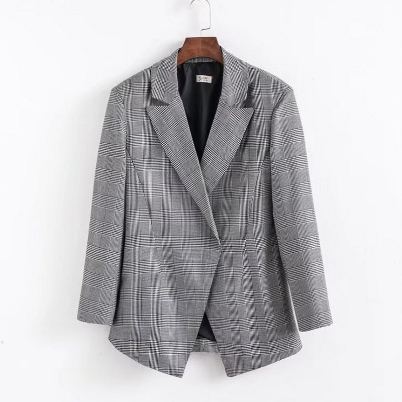 A Small Suit Jacket Women 2019 A New Style of Training Long Coat Women Clothing Blazers Jackets Plaid Suit Coat Fashion Suit