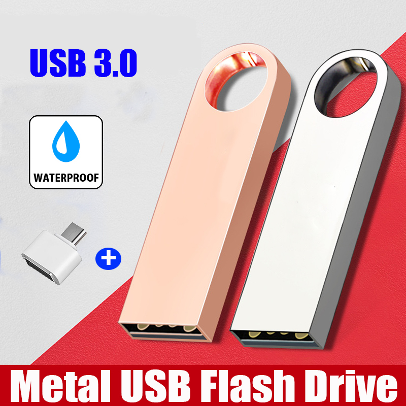 Metal Waterproof Pendrive 128 GB USB Flash Drive 256GB 128GB 64GB 32GB 16GB 8GB Cle USB 3.0 Flash Disk Pen Drive Memory Stick