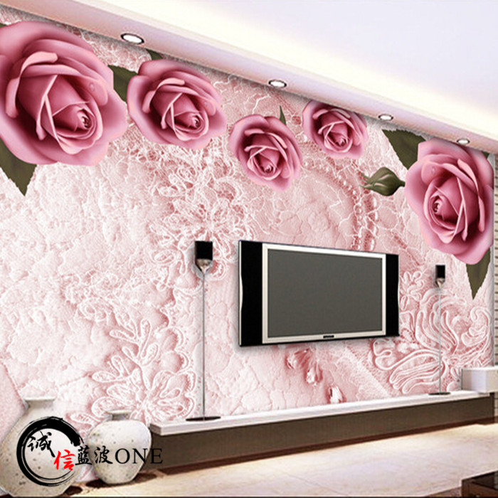 Custom 3d mural wallpaper European style bedroom roses wallpaper 3D stereo TV background wall non-woven wallpaper mural custom 3d mural wallpaper european style painting stereoscopic relief jade living room tv backdrop bedroom photo wall paper 3d