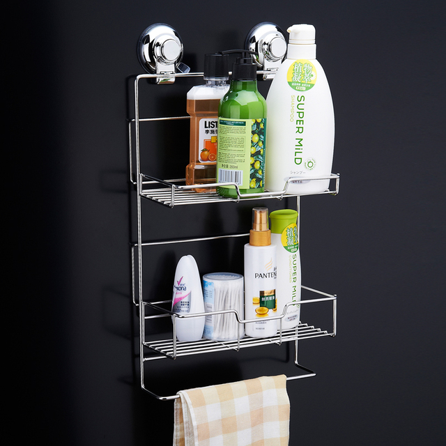 Ordinaire CHANOVEL Stainless Steel Bathroom Shelves With Robe Hook 2 Tier Bathroom  Storage Basket Wall Mount