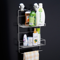 CHANOVEL Stainless Steel Bathroom Shelves With Robe Hook 2 Tier Bathroom Storage Basket Wall Mount Bathroom