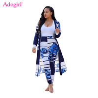 Adogirl Fashion Floral Print X Long Jacket Coat Leggings 2 Piece Set Outfit Women Casual Suit Long Sleeve Cardigan Skinny Pants
