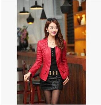 Горячая Распродажа! M L XL XXL XXXL XXXXL новая осенняя женская кожаная куртка размера плюс, женская верхняя одежда, брендовые куртки из искусственной кожи A0313 - Цвет: red