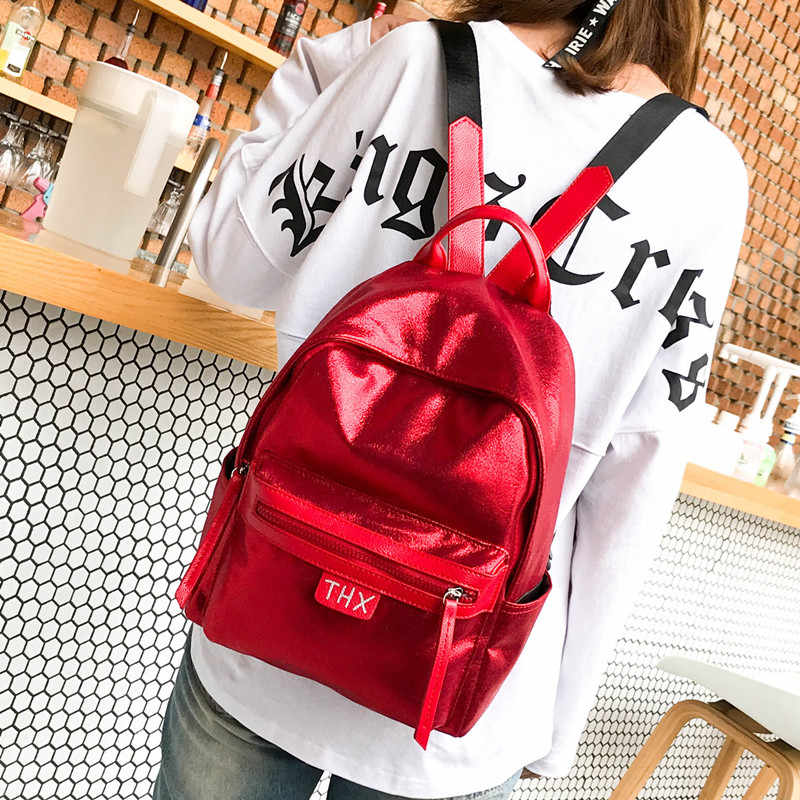2c6e57ba59 ... Fashion Glitter Women Backpack big capacity soft PU Leather Teenage  Girls School Bag Large Female backpacks ...
