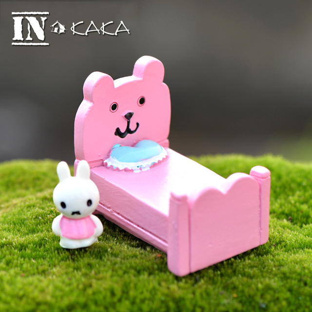 Kawaii Rosa mini Muebles cama conejos micro jardín miniaturas casa ...
