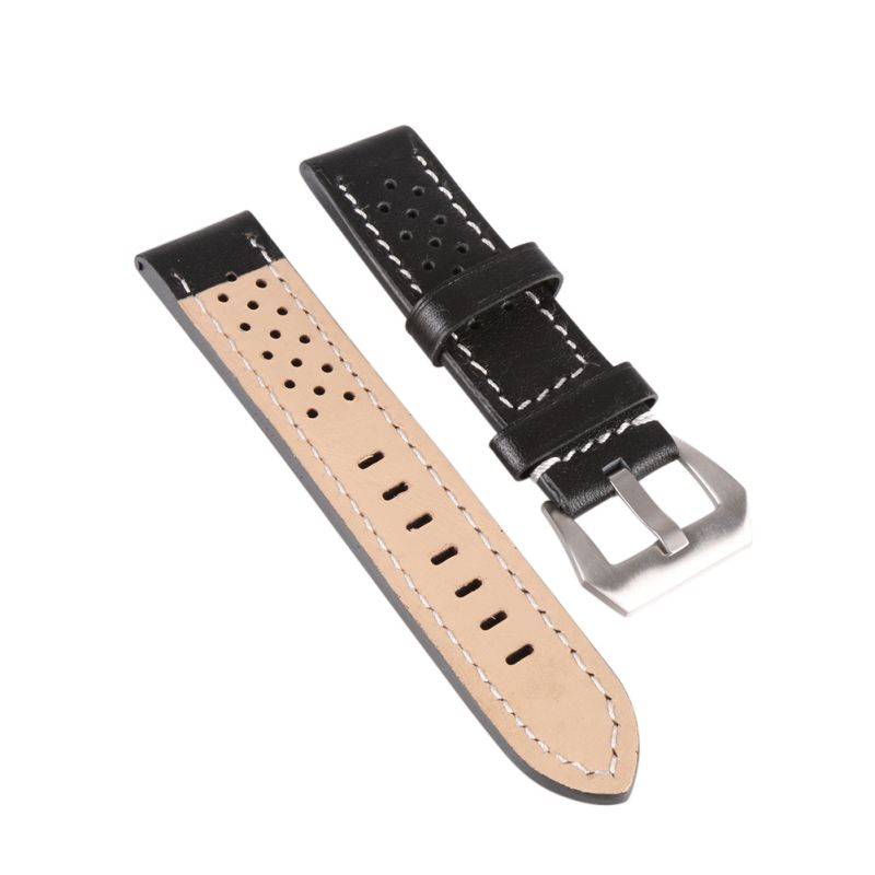 20mm 22mm 24mm 26mm Genuine Leather Thick Band Strap Belt Silver Pin Buckle Men LadyWatch Band цена