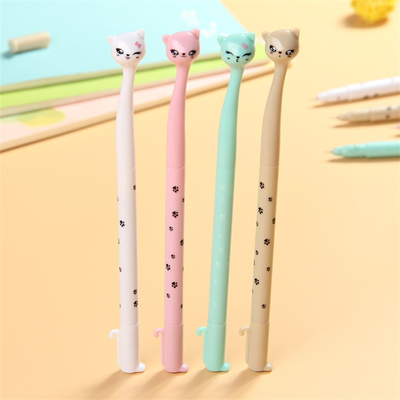 4 pieces / bag 0.5mm cute candy cat pen color bow pen water pen student school office supplies supply