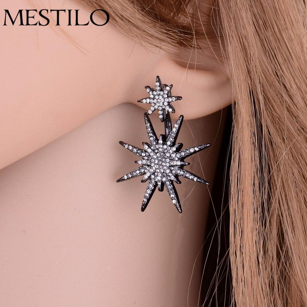 (1 Pcs) Hot Sparking Gold Color Full Rhinestone Sun Flower Star Crystal  Drop Earrings Punk Trendy Fashion Ear Jacket For Lady
